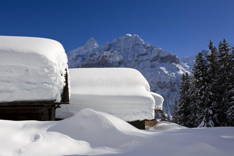 Schreckhorn w zimie fotografia stock