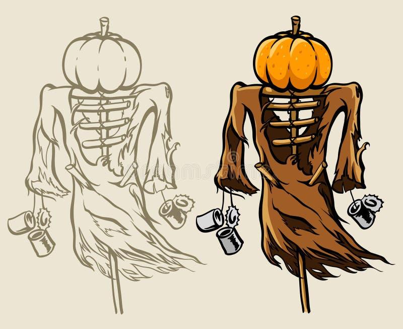 Schreckliche Halloween-Vogelscheuche mit Kürbis lizenzfreie abbildung