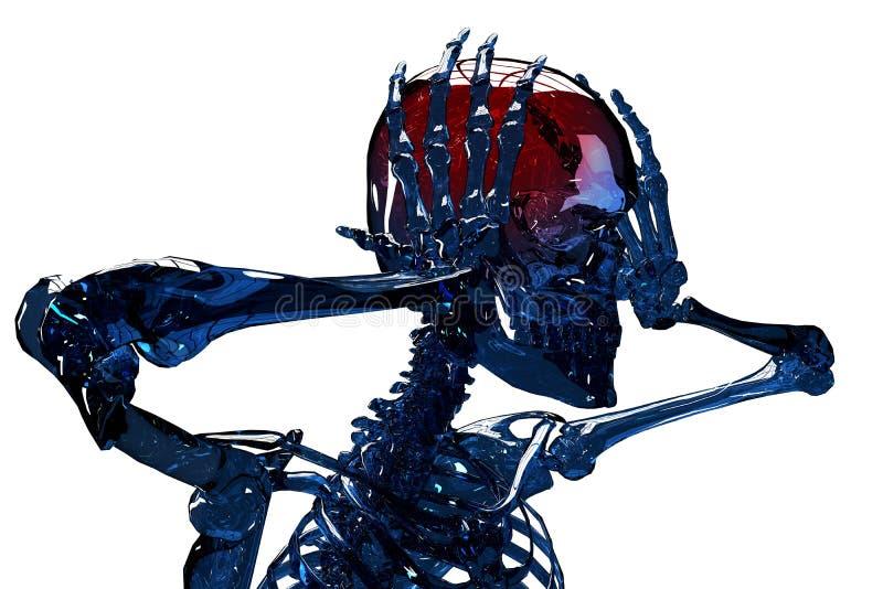 schreckliche Kopfschmerzen 3d stockbilder