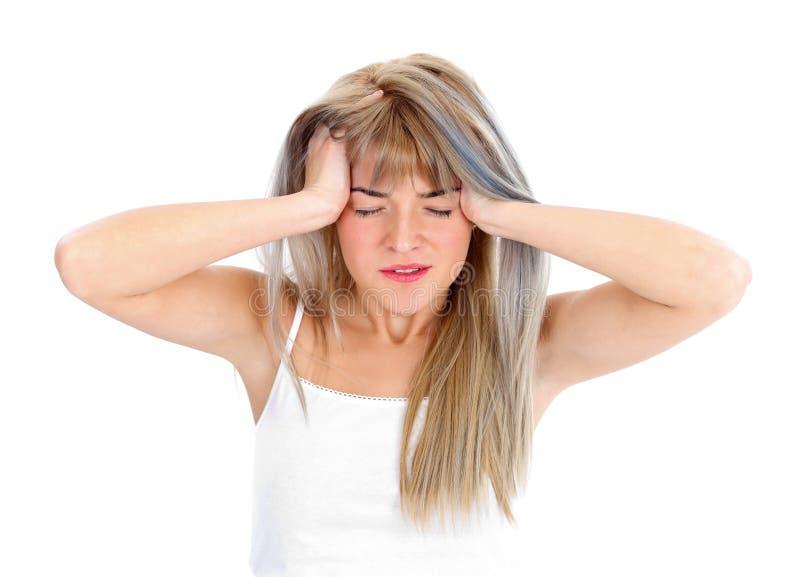 Schreckliche Kopfschmerzen für eine Frau lizenzfreies stockfoto