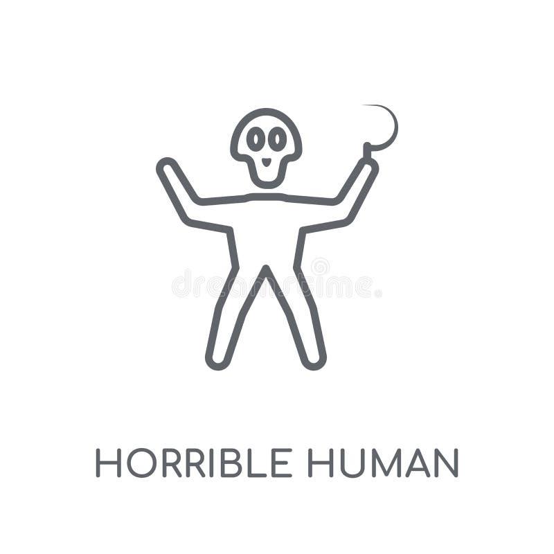 schreckliche menschliche lineare Ikone Schreckliches menschliches Logo c des modernen Entwurfs lizenzfreie abbildung