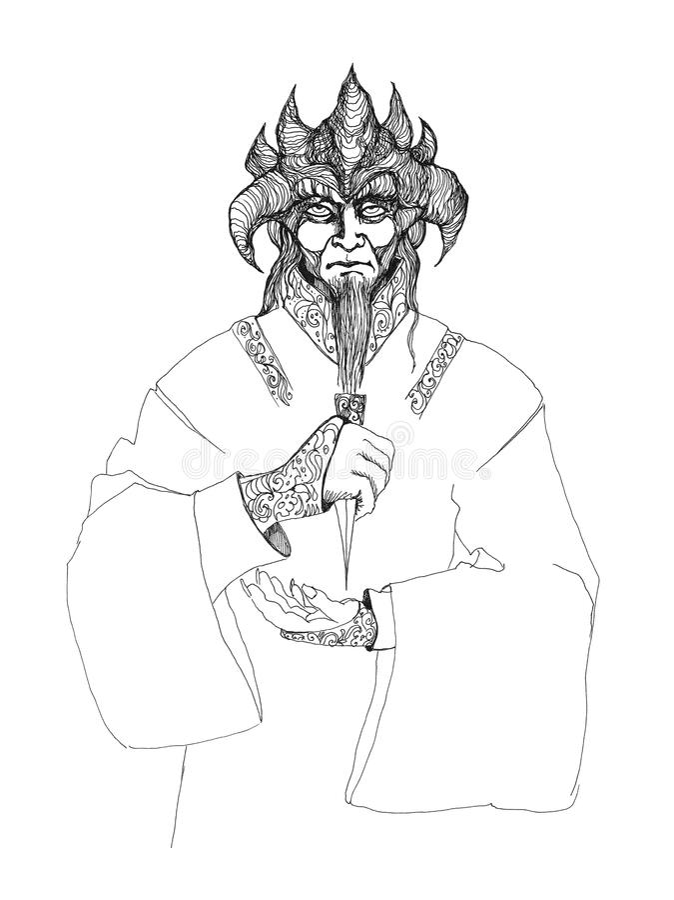 Schrecklicher, schrecklicher Dämon, Monster, Teufel mit Hörnern vektor abbildung