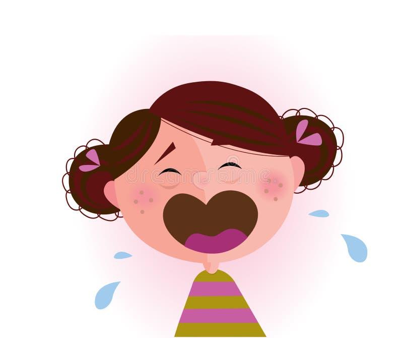 Schreeuwend babymeisje vector illustratie