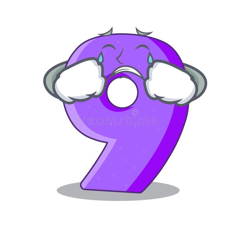 Schreeuwend nummer Negen gestalte gegeven ballondoopvont charcter royalty-vrije illustratie