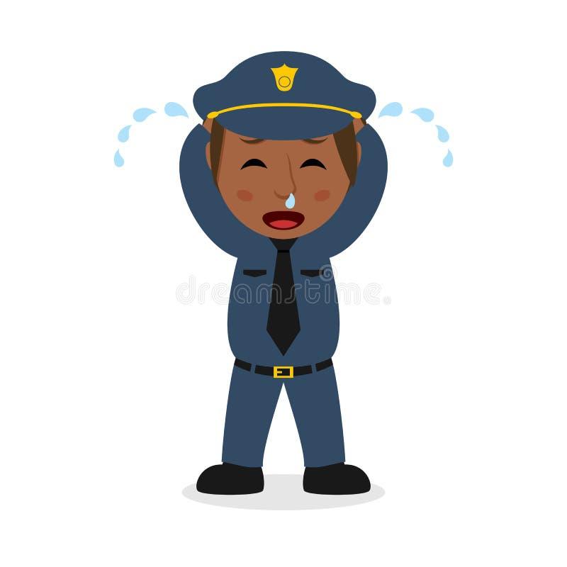 Schreeuwend Zwart Politieagentekarakter stock illustratie