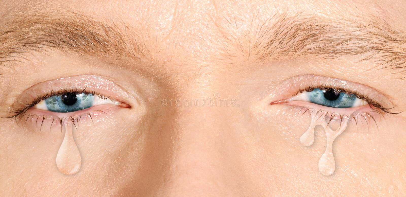 Schreeuwende blauwe ogen royalty-vrije stock foto's