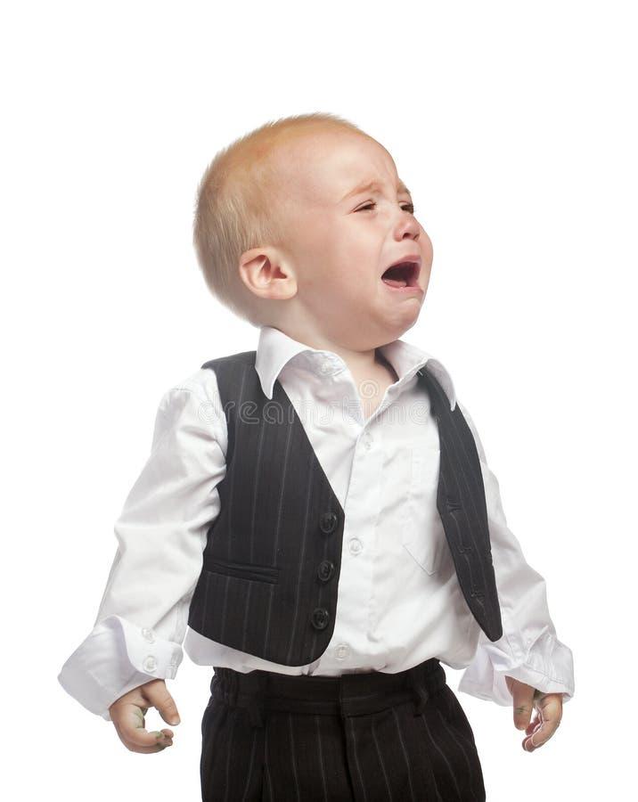 Schreeuwende geïsoleerden babyjongen stock afbeelding