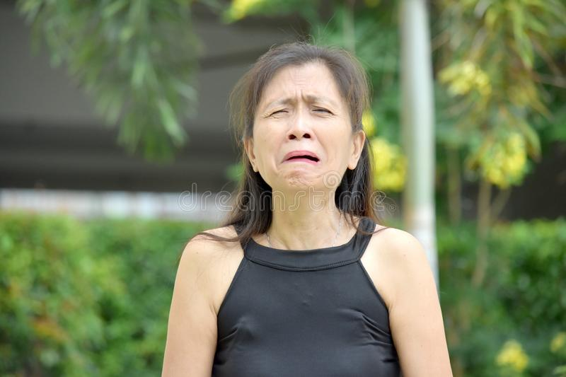 Schreeuwende Hogere Aziatische Grootmoeder royalty-vrije stock foto's