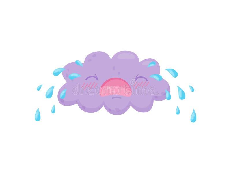Schreeuwende wolk op witte achtergrond Regenconcept vector illustratie