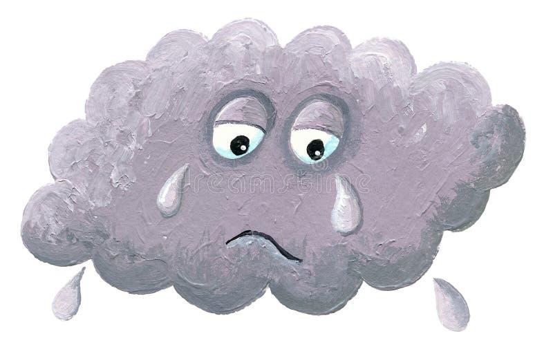 Schreeuwende wolk - regenachtige wolk vector illustratie