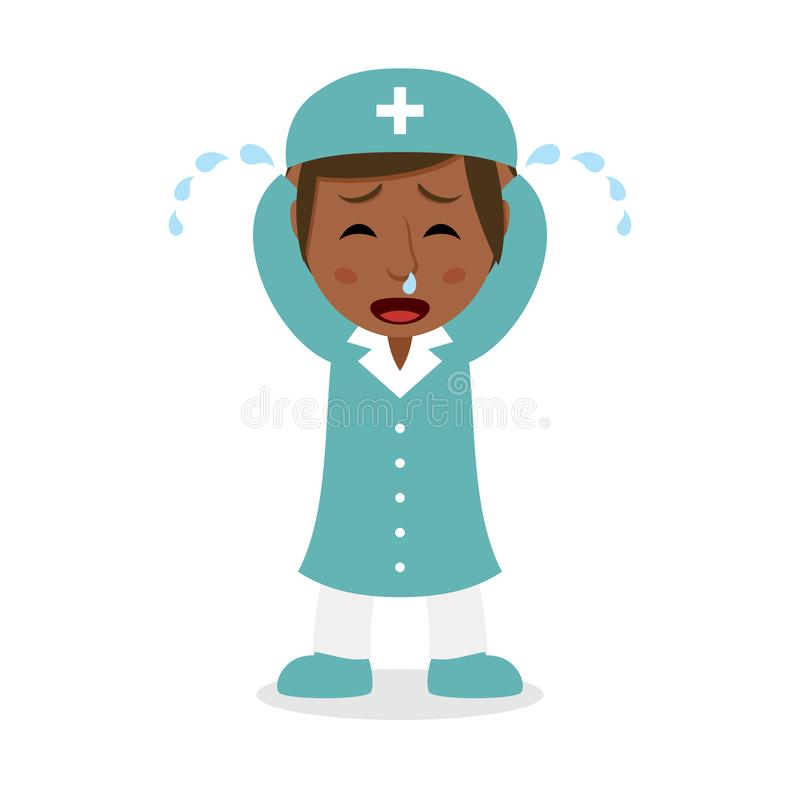 Schreeuwende Zwarte Vrouwelijke Verpleegster Character royalty-vrije illustratie