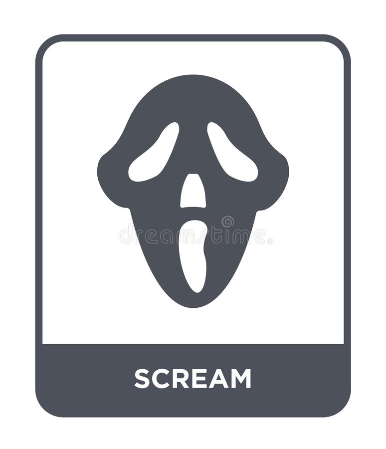 schreeuwpictogram in in ontwerpstijl schreeuwpictogram op witte achtergrond wordt geïsoleerd die eenvoudige en moderne vlakke sym vector illustratie