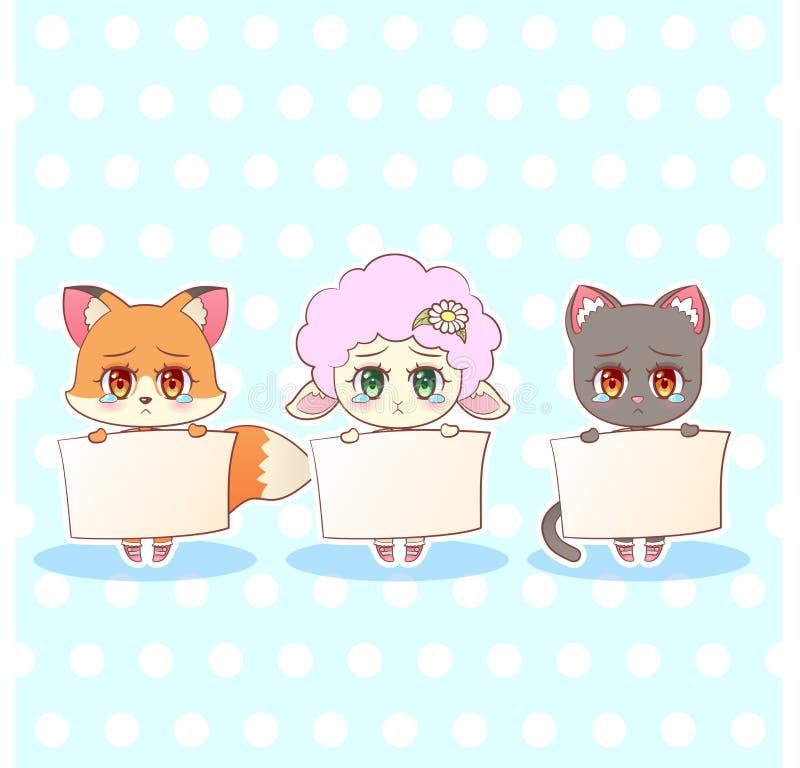 Schrei-Rissfuchs der süßen kawaii Kitty Littles netten Animekarikatur trauriger trauriger, Katze, Kätzchen, Lammmädchen im Kleide stock abbildung