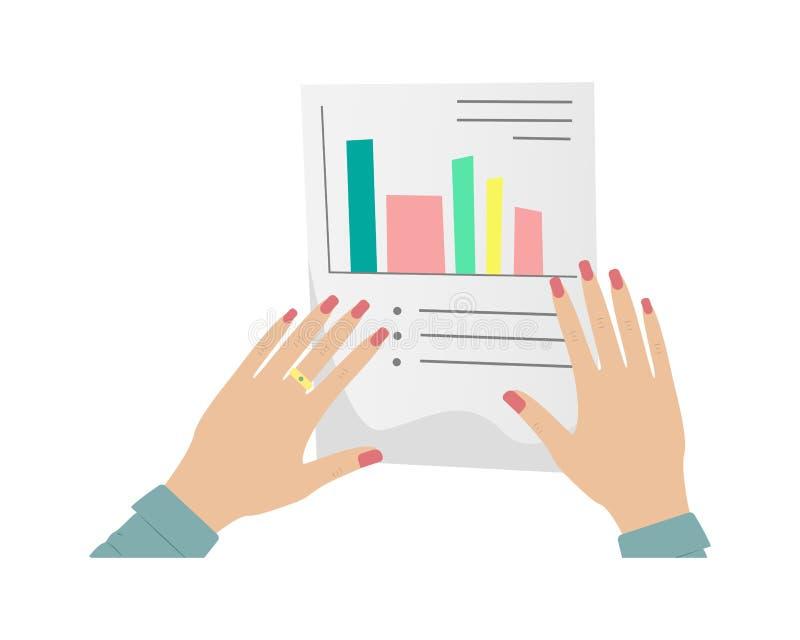 Schreibarbeit, Steuererklärung, Fragebogen Die Hände der Frauen mit der roten Maniküre, die ein Papierdokument verwahrt Frauenunt stock abbildung