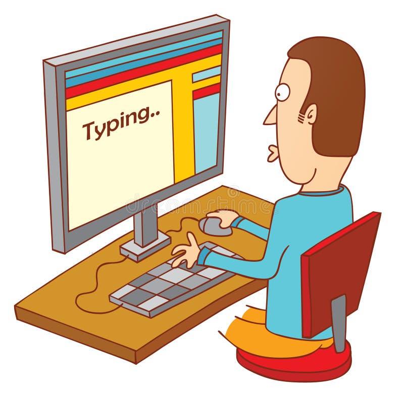 Schreiben auf Computer stock abbildung