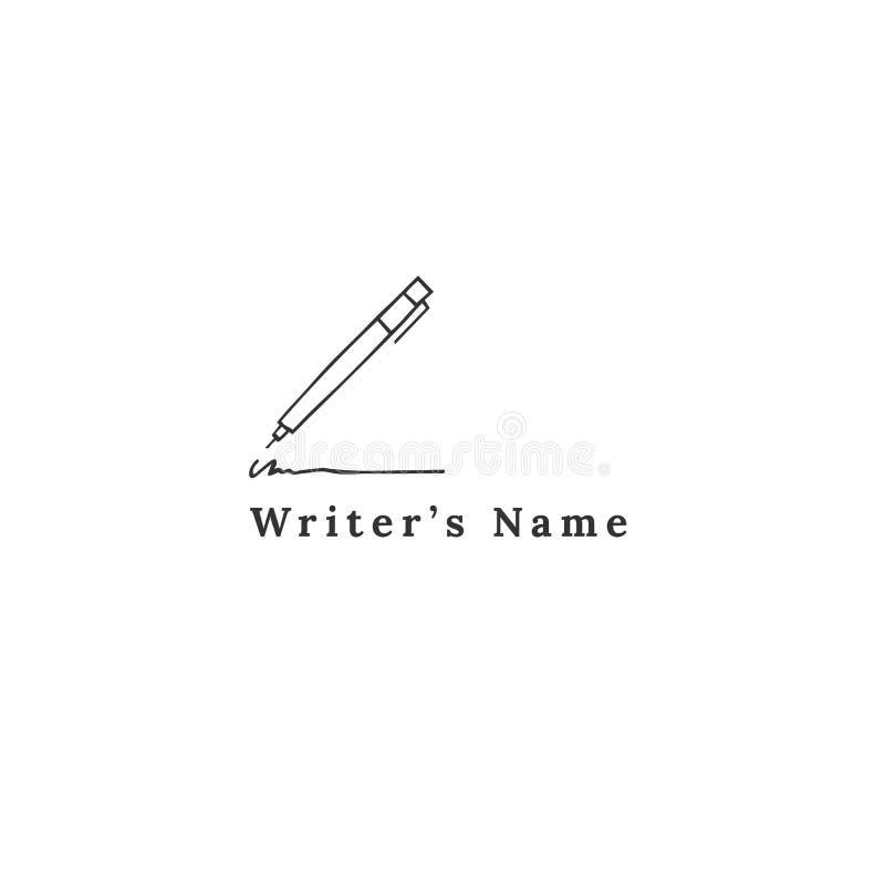 Schreiben, Copyright und Verlags- Thema Schreiben des Stiftes, Vektorhandgezogene Logoschablone stock abbildung