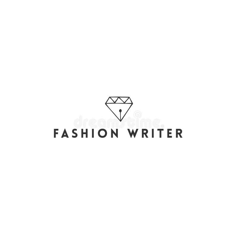 Schreiben, Copyright und Verlags- Thema Vektorhandgezogene Logoschablone, ein Diamant mit einer Stiftspitze lizenzfreie abbildung