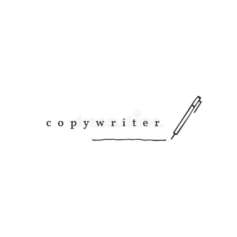 Schreiben, Copyright und Verlags- Thema Vektorhandgezogene Logoschablone, ein Stift stock abbildung