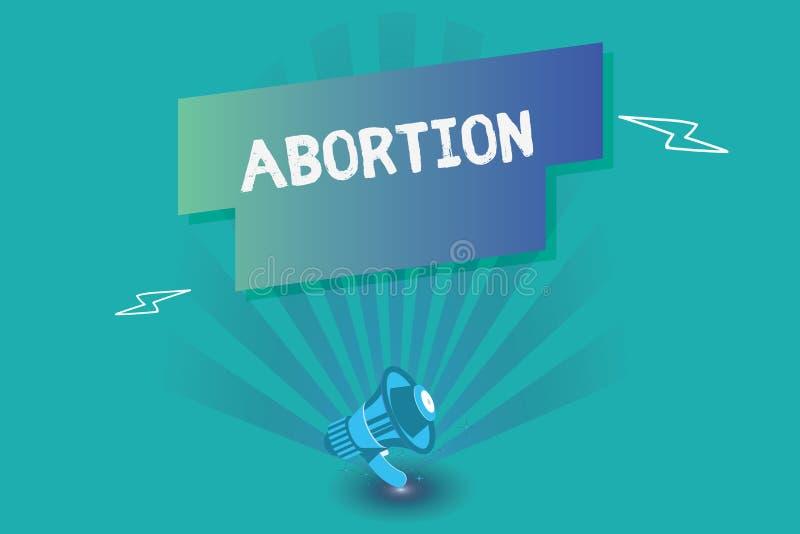 Schreiben der Anmerkung, die Abtreibung zeigt Geschäftsfoto, das überlegte Beendigung eines huanalysis Schwangerschaft Todes des  stock abbildung