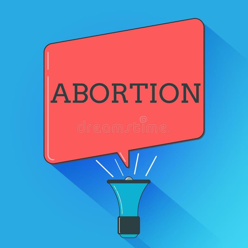 Schreiben der Anmerkung, die Abtreibung zeigt Geschäftsfoto, das überlegte Beendigung eines huanalysis Schwangerschaft Todes von  lizenzfreie abbildung