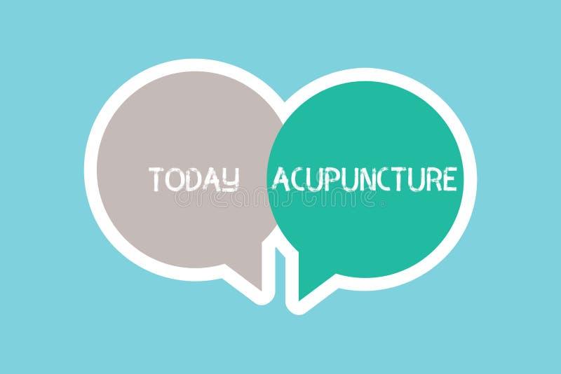 Schreiben der Anmerkung, die Akupunktur zeigt Geschäftsfoto, das alternative Therapie Behandlung für die Schmerz- und Krankheitsa lizenzfreie abbildung