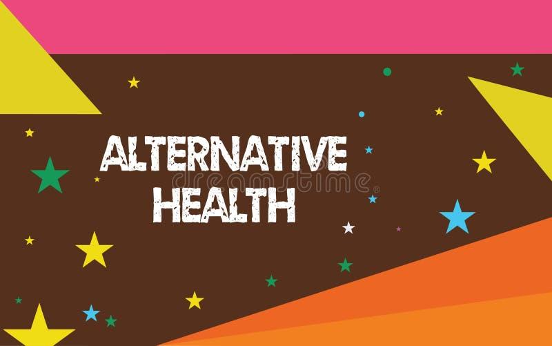 Schreiben der Anmerkung, die alternative Gesundheit zeigt Geschäftsfoto Präsentationsarztpraxen, die nicht Teil Standardsorgfalt  stock abbildung