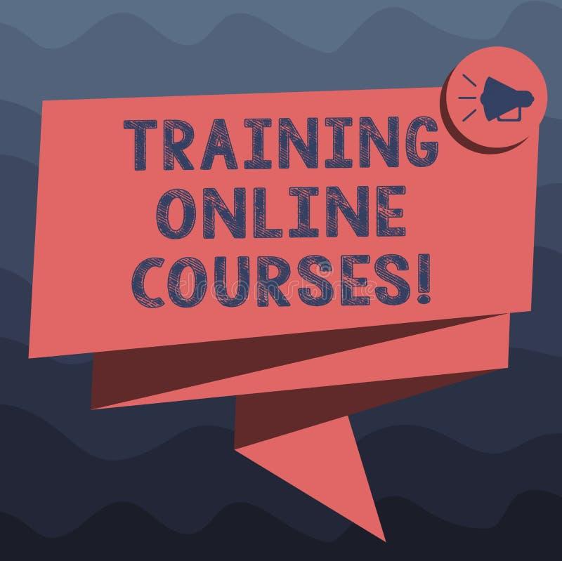 Schreiben der Anmerkung, die ausbildende on-line-Kurse zeigt Zur Schau stellendes Geschäftsfoto, eine Reihe Lektionen an ein web  stock abbildung