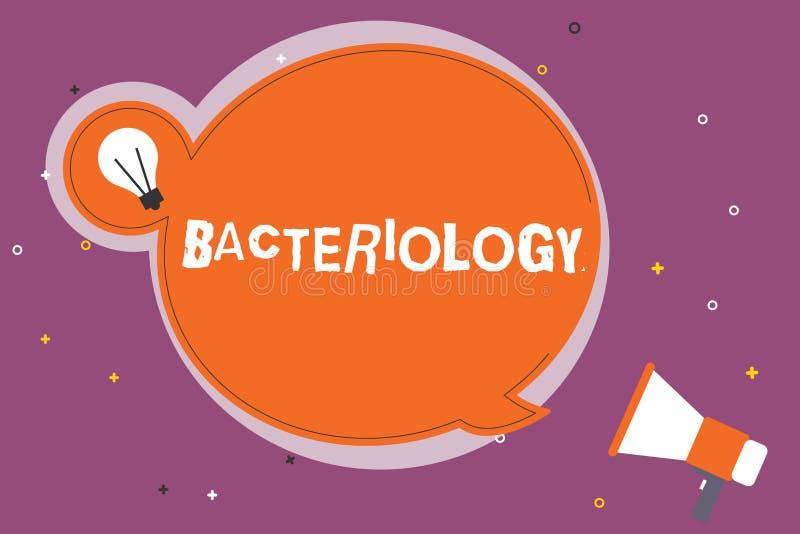 Schreiben der Anmerkung, die Bakteriologie zeigt Geschäftsfoto Präsentationsniederlassung von Mikrobiologie beschäftigend Bakteri lizenzfreie abbildung