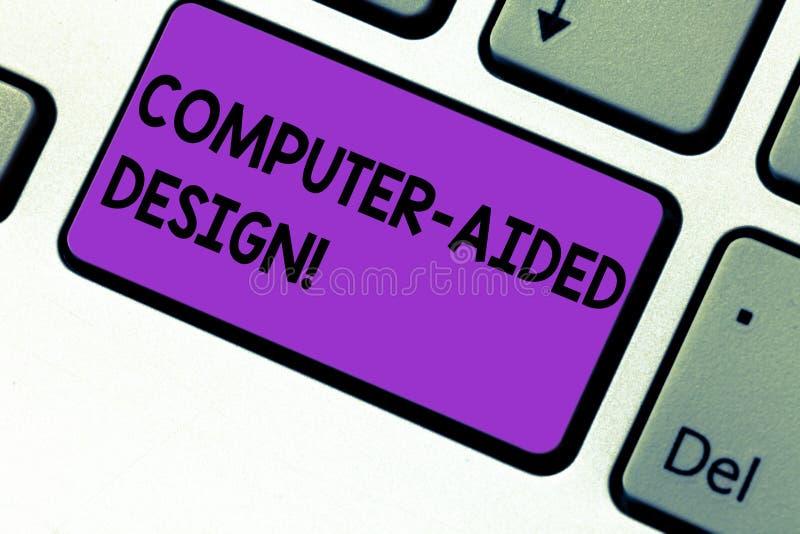 Schreiben der Anmerkung, die computergesützte Konstruktion zeigt Geschäftsfoto, das industrielles Entwerfen CAD durch die Anwendu stockfotos