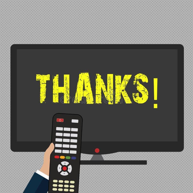 Schreiben der Anmerkung, die Dank zeigt Geschäftsfoto Präsentationsanerkennungsgruß Bestätigungs-Dankbarkeit stock abbildung