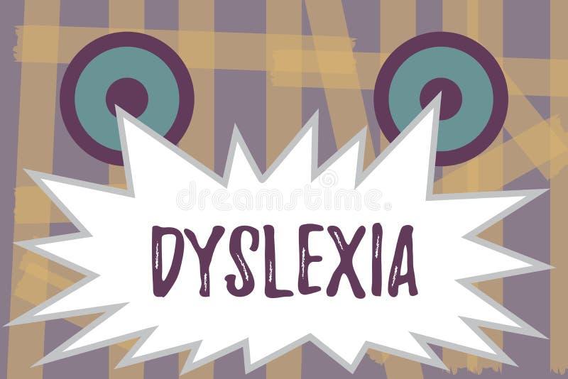 Schreiben der Anmerkung, die Dyslexie zeigt Geschäftsfoto Präsentationsstörungen, die Schwierigkeit beim Lernen zu lesen miteinbe stock abbildung