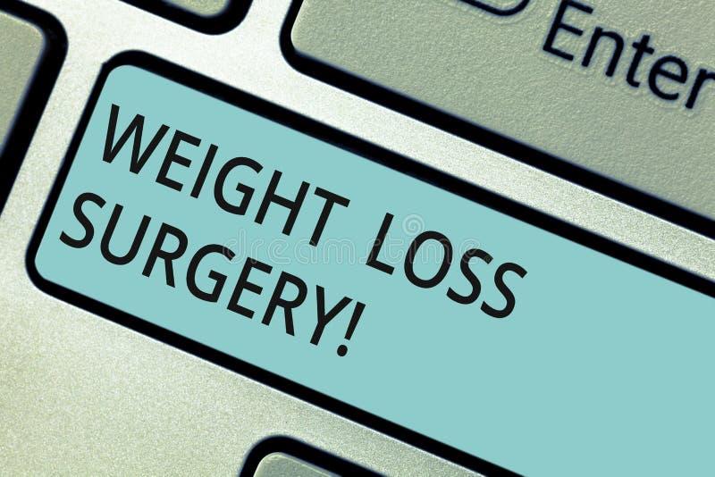 Schreiben der Anmerkung, die Gewichtsverlust-Chirurgie zeigt Zur Schau stellendes Geschäftsfoto, auf Magendärmen zu tun, um zu de stockfotos