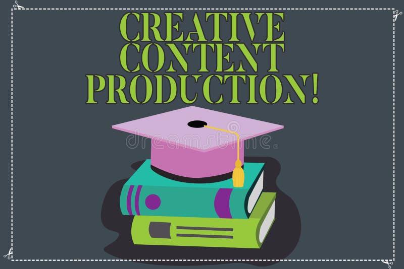 Schreiben der Anmerkung, die kreative zufriedene Produktion zeigt Geschäftsfoto Präsentationssich c$entwickeln und Schaffung sich lizenzfreie abbildung