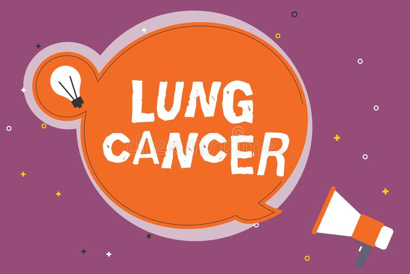 Schreiben der Anmerkung, die Lung Cancer zeigt Geschäftsfoto Präsentationswildwuchs von anormalen Zellen, die in den Lungen begin vektor abbildung