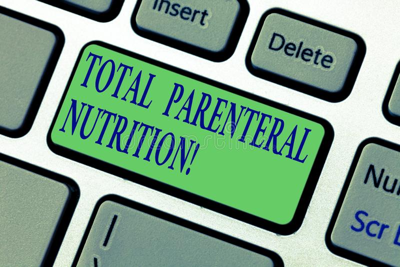 Schreiben der Anmerkung, die parenterale totalnahrung zeigt Geschäftsfoto, das eine spezifische Form der Nahrung durch a hineingi stockfotos