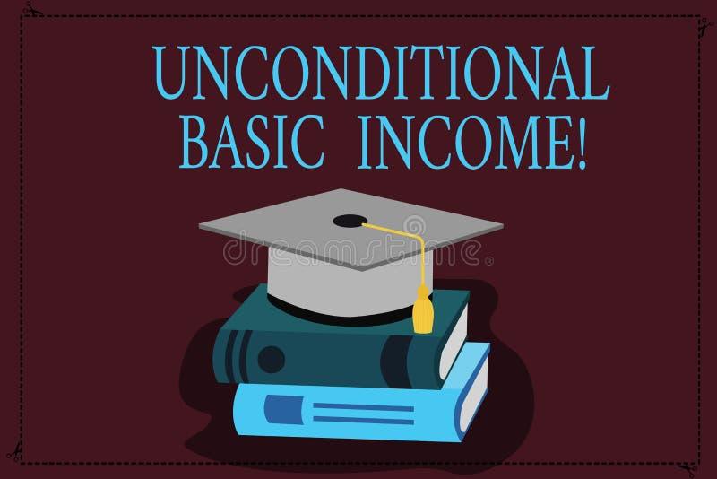 Schreiben der Anmerkung, die unbedingtes Grundeinkommen zeigt Zur Schau stellendes zahlendes Einkommen des Geschäftsfotos ohne ei lizenzfreie abbildung