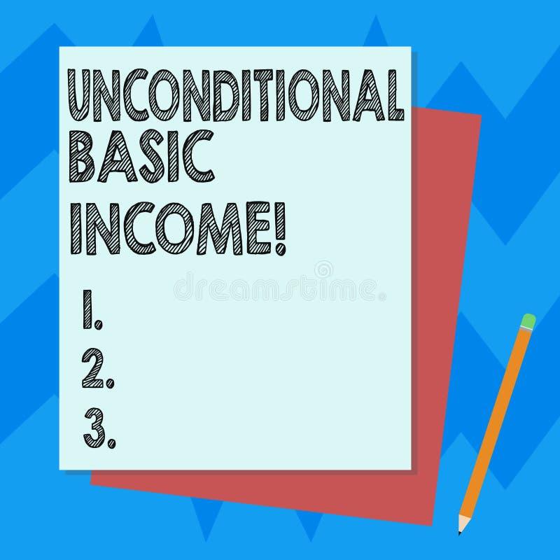 Schreiben der Anmerkung, die unbedingtes Grundeinkommen zeigt Zur Schau stellendes zahlendes Einkommen des Geschäftsfotos ohne ei stock abbildung
