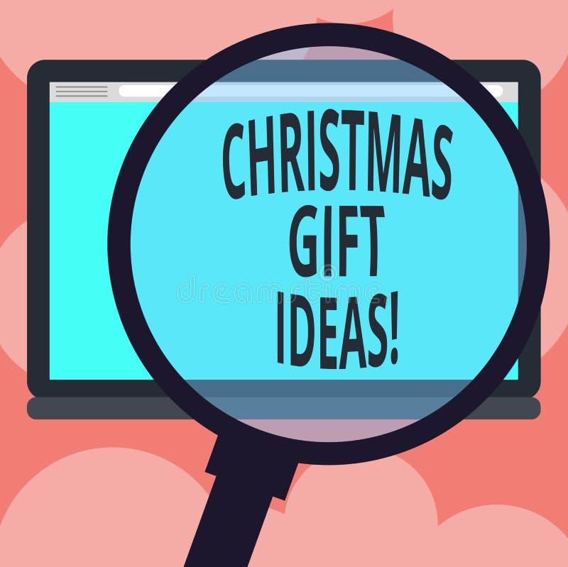 Schreiben der Anmerkung, die Weihnachtsgeschenk-Ideen zeigt Geschäftsfoto Präsentationsvorschlag, damit beste Geschenke im Weihna lizenzfreie abbildung