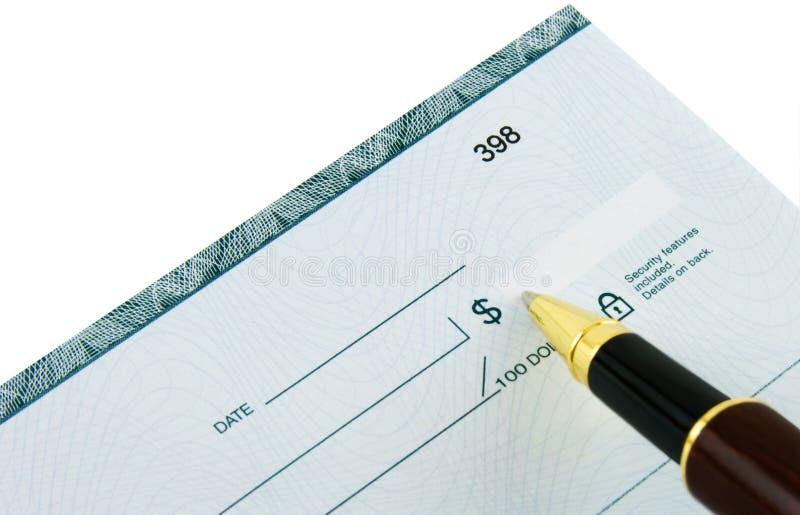 Schreiben des Checks stockfoto