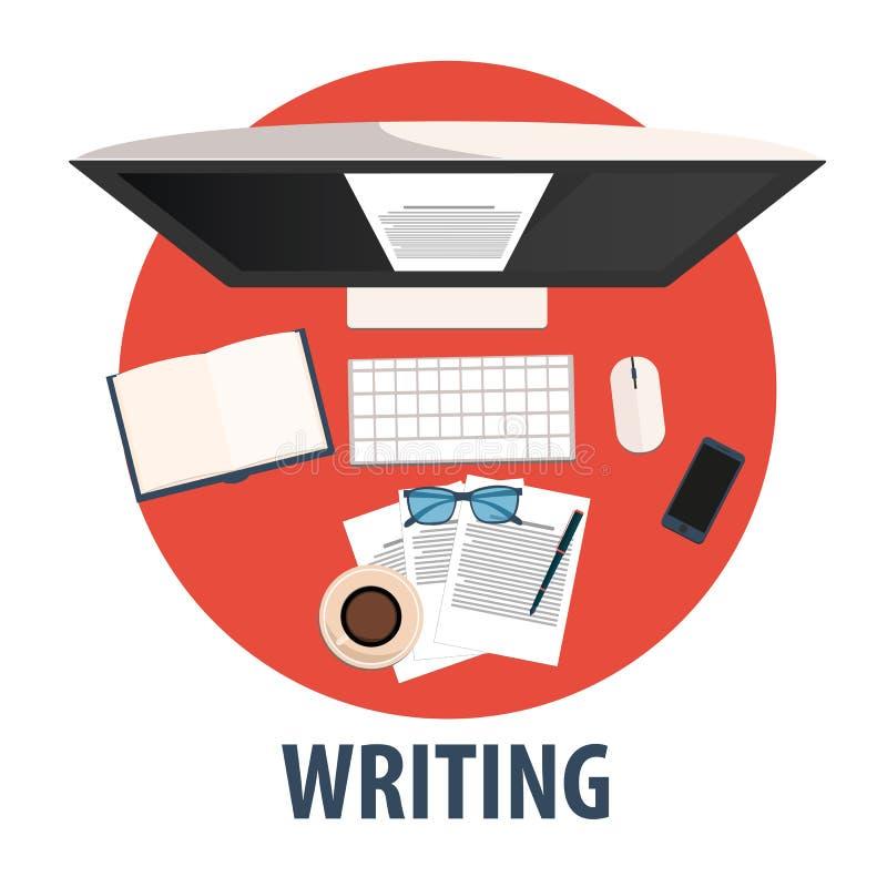 Schreiben des flachen Designs Illustrationsschreiben Freiberuflich tätiger Beruf vektor abbildung