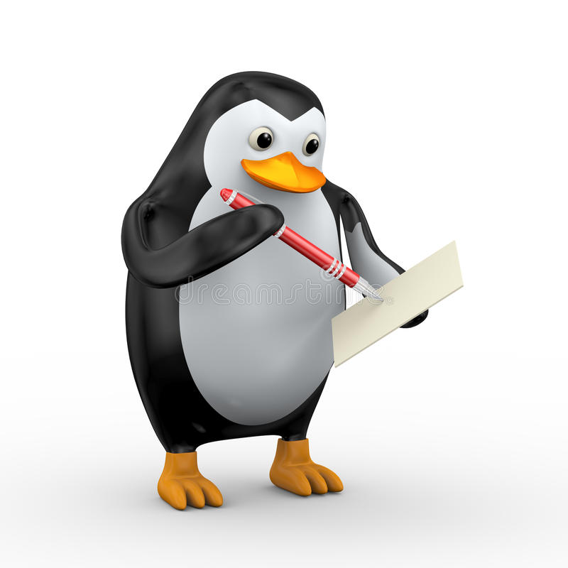 Schreiben des Pinguins 3d mit Stift lizenzfreie abbildung