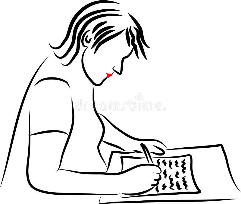 Schreiben eines Briefes stock abbildung