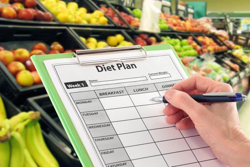 Schreiben eines Diät-Planes durch Supermarket Fruit lizenzfreie stockfotos