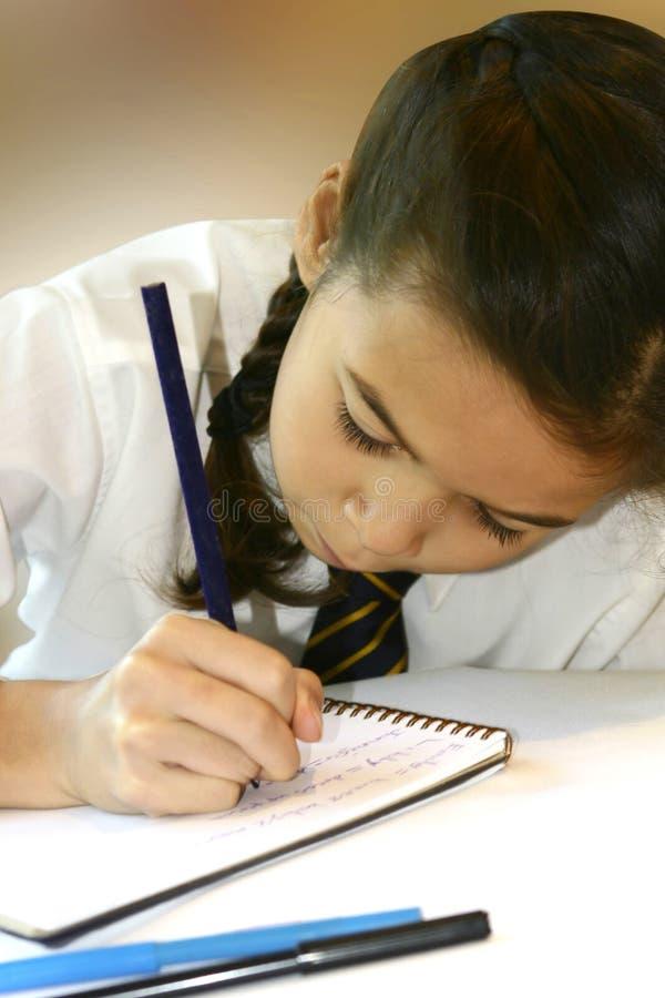 Schreiben in ihr Heimarbeitsbuch. stockfotos