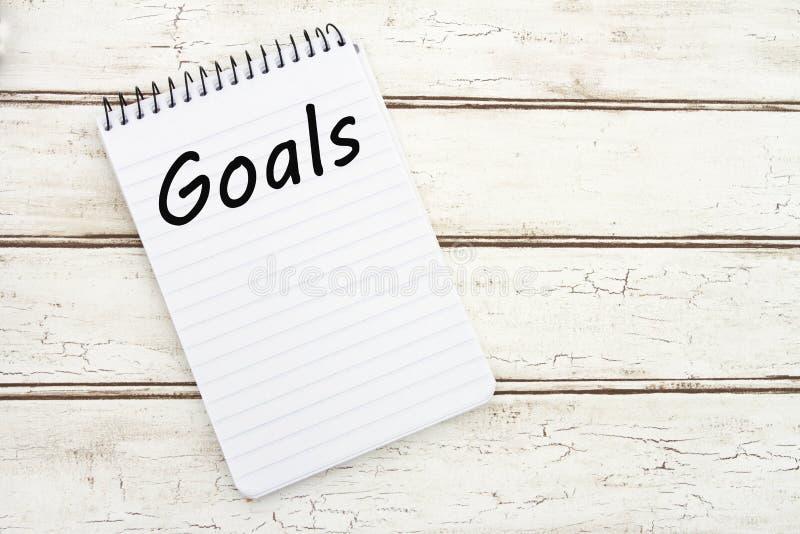 Schreiben Ihrer Ziele stockbild