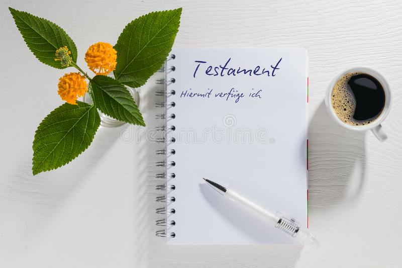 Schreiben Ihres Testaments stockfotografie