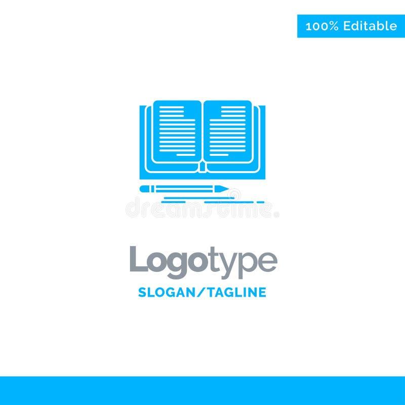 Schreiben, Roman, Buch, Geschichte blauer fester Logo Template Platz f?r Tagline stock abbildung
