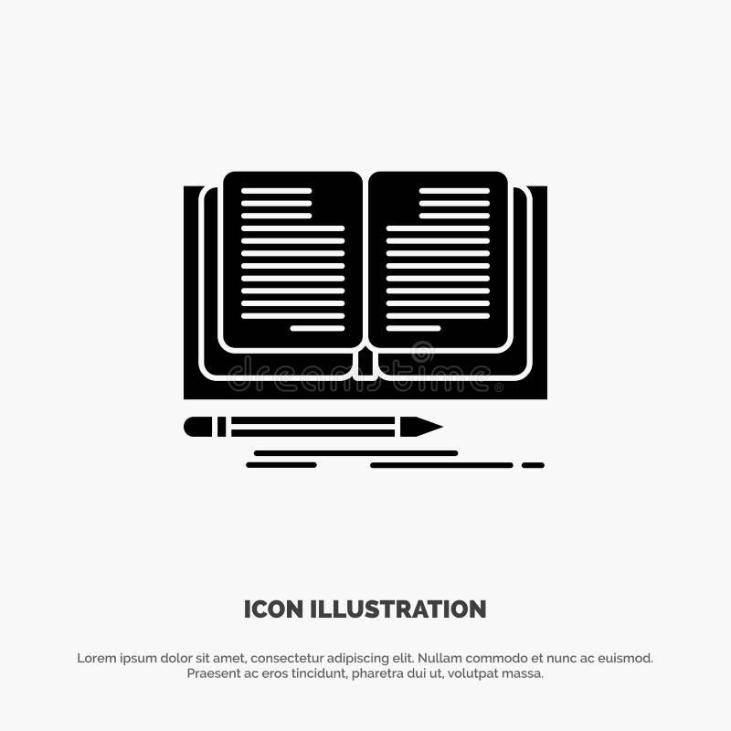 Schreiben, Roman, Buch, Geschichte fester Glyph-Ikonenvektor vektor abbildung