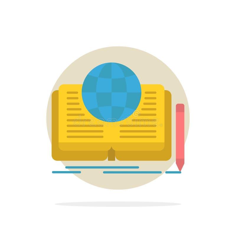Schreiben, Roman, Buch, Geschichte, flache Ikone Farbe des Theorie-Zusammenfassungs-Kreis-Hintergrundes vektor abbildung