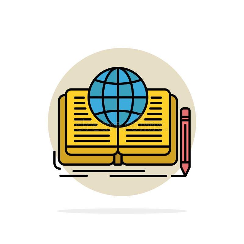 Schreiben, Roman, Buch, Geschichte, flache Ikone Farbe des Theorie-Zusammenfassungs-Kreis-Hintergrundes lizenzfreie abbildung